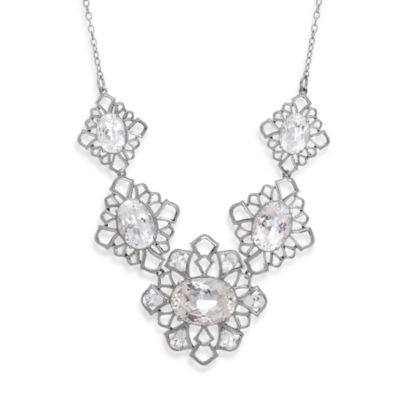 Badgley Mischka® Petal Perfect White Quartz Sterling Silver Necklace