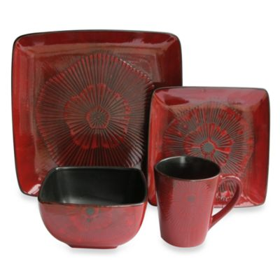 American Atelier Laurette Square 16-Piece Dinnerware Set in Red
