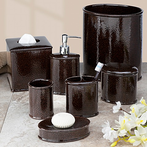 Buy crackle bath waste basket from bed bath beyond for Waste baskets for bathroom