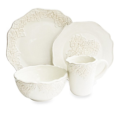 American Atelier Bianca Medallion White 16-Piece Dinnerware Set