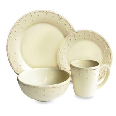 American Atelier Genevieve Cream 16-Piece Dinnerware Set