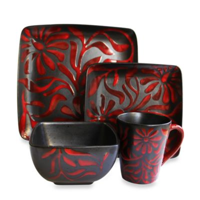 American Atelier 16-Piece Square Dinnerware Set in Daisy Red