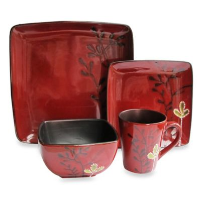 American Atelier 16-Piece Square Dinnerware Set in Elise Red