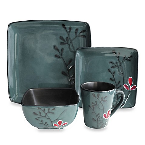 American Atelier Elise Blue 16-Piece Square Dinnerware Set