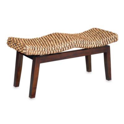 Sanibel Woven Bench with Solid Mahogany Base