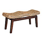 Sanibel Woven Bench with Solid Mahogany Base