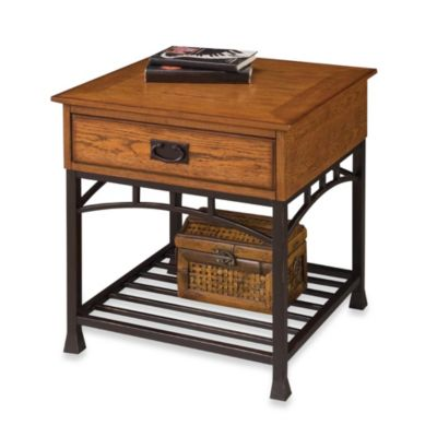 Home Styles Modern Craftsman End Table in Oak