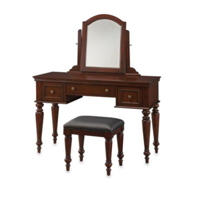 Home Styles Lafayette Vanity Table and Bench Set in Cherry