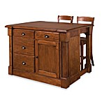Home Styles Aspen Rustic Cherry Kitchen Island with Bar Stools