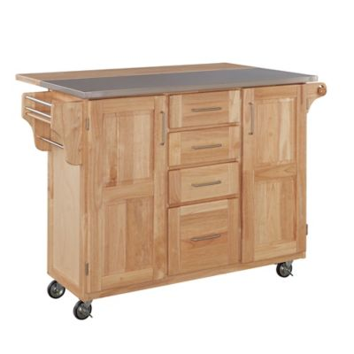 Home Styles Natural Wood Breakfast Bar Rolling Kitchen Cart