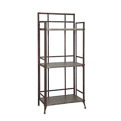 Powell® Foundry Tall 3-Shelf Bookcase with Gallery Crown in Antique Pewter
