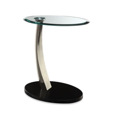 Powell® Chairside Table in Brushed Chrome and Glass