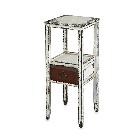 Powell Parcel White 1-Drawer Accent Table