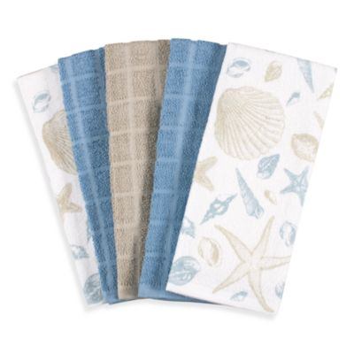 Shells 100% Cotton Terry 5-Piece Cloth Kitchen Towels