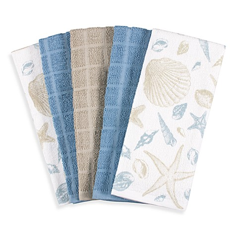 Cotton Terry Cloth Kitchen Towels in Shells (Set of 5)