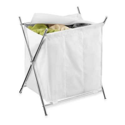 Honey-Can-Do Folding X-Frame Triple Hamper in White