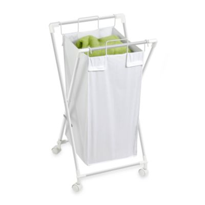 Honey-Can-Do Steel Folding Single Hamper in White