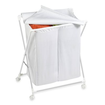 Honey-Can-Do Steel Folding Double Hamper in White