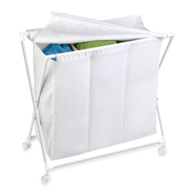 Honey-Can-Do Steel Folding Triple Hamper in White