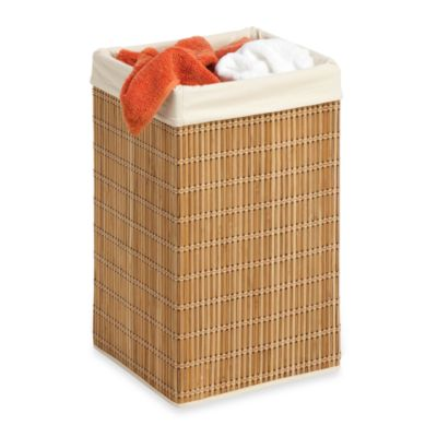 Honey-Can-Do® Square Wicker Hamper with Liner in Bamboo