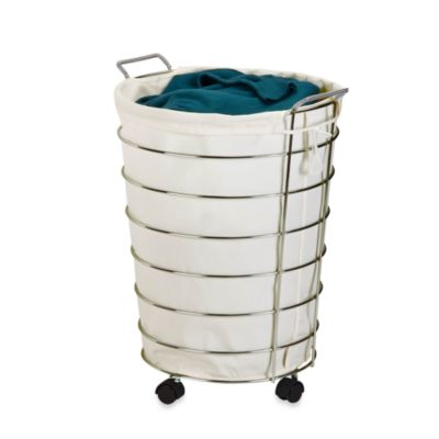 Honey-Can-Do Canvas and Chrome Rolling Laundry Hamper