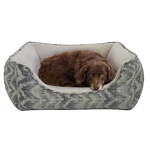 Paws & Claws Aztec Jacquard Quilted Cozy Bed in Midnight Gray