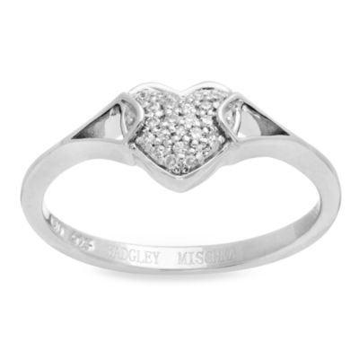 Badgley Mischka Size 7 Diamond Romantics Promise Ring in Sterling Silver