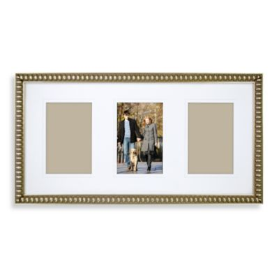 Thin Bead 10-Inch x 19-Inch 3-Opening Wall Frame in Gold