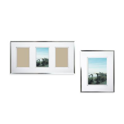 Wall Gallery Sloped Metal 9-Inch x 18-Inch Three Opening Frame in Silver