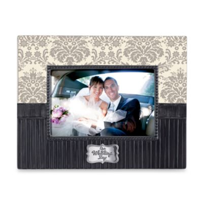 Damask Grey Ceramic Wedding Frame