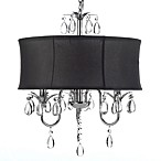 Gallery 3-Light Chrome and Crystal Black Shade Chandelier