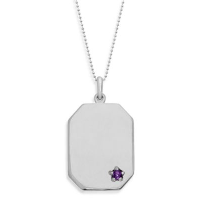 emma&me forever™ Sterling Silver and Amethyst Dog Tag Pendant