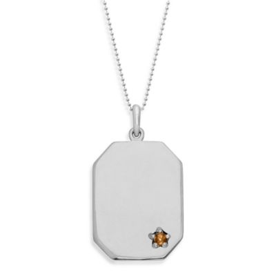 emma&me forever™ Sterling Silver and Citrine Dog Tag Pendant