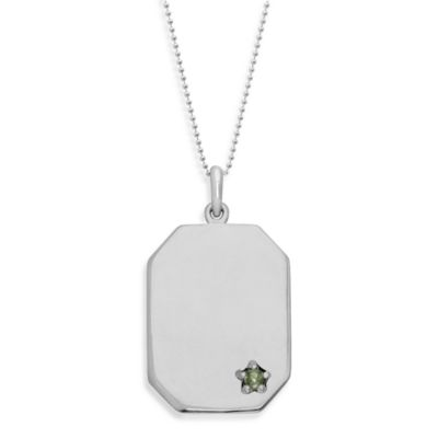 emma&me® Sterling Silver and Peridot Dog Tag Pendant