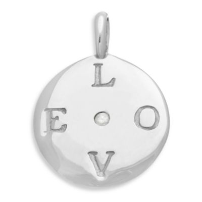 emma&me forever™ Sterling Silver and Diamond LOVE Mini Disc Charm