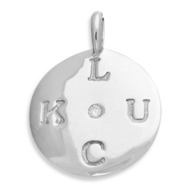 emma&me forever™ Sterling Silver and Diamond LUCK Mini Disc Charm w/Chain