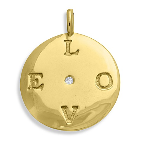 emma&me® Gold Plated Sterling Silver and Diamond LOVE Classic Disc Charm w/Chain