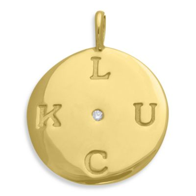 emma&me® Gold Plated Sterling Silver and Diamond LUCK Classic Disc Charm w/Chain