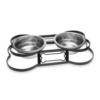Ruff and Tough Wrought Iron Bone Double Diner with 1-Quart Pet Dishes