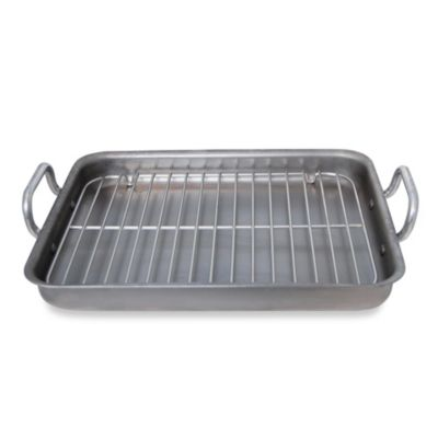 de Buyer Mineral B 16.73-Inch by 13.4-Inch Rectangular Roaster with Stainless Steel Grid