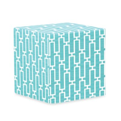 Patio No-Tip Block Ottoman in Blue and White Vinyl