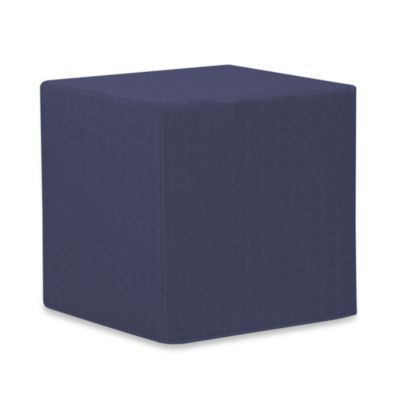 Howard Elliott® Patio No-Tip Block Ottoman in Navy Blue Vinyl