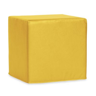 Patio No-Tip Block Ottoman in Yellow Vinyl