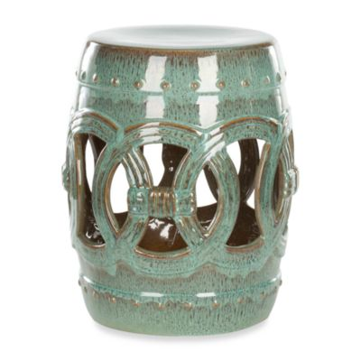 Safavieh Double Coin Ceramic Stool in Blue/Green