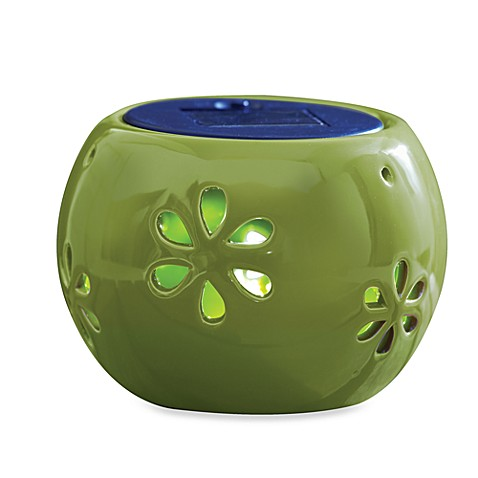 Ceramic 5-Inch Solar Lantern in Green