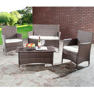 Safavieh Mojavi 4-Piece Wicker Conversation Set in Beige