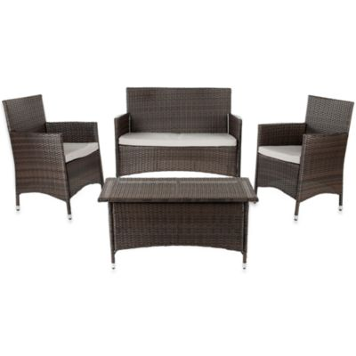 Safavieh Mojavi 4-Piece Wicker Conversation Set in Grey