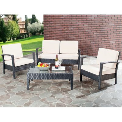 Safavieh Piscataway 4-Piece Patio Set in Brown