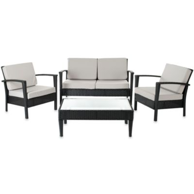 Safavieh Piscataway 4-Piece Patio Set in Charcoal