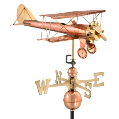 Good Directions Biplane Weathervane in Polished Copper